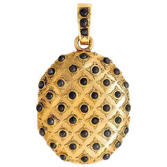 Antique Gold Locket with Pave Steel Beads