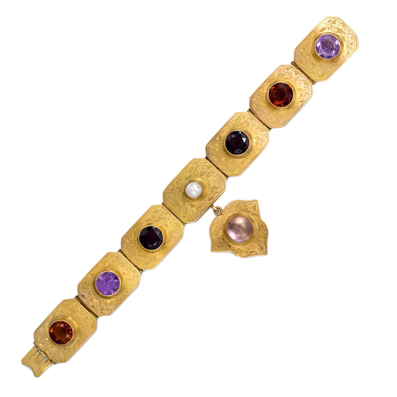 Antique English Multi Gemstone Gold Plaque Bracelet For Sale