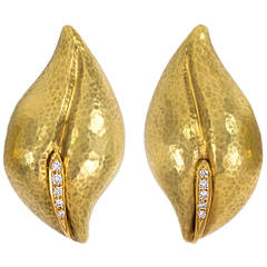 Tiffany & Co. Paloma Picasso Diamond Gold Leaf Earrings