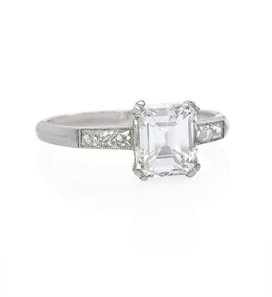 Art Deco Emerald Cut Diamond Engagement Ring at 1stdibs