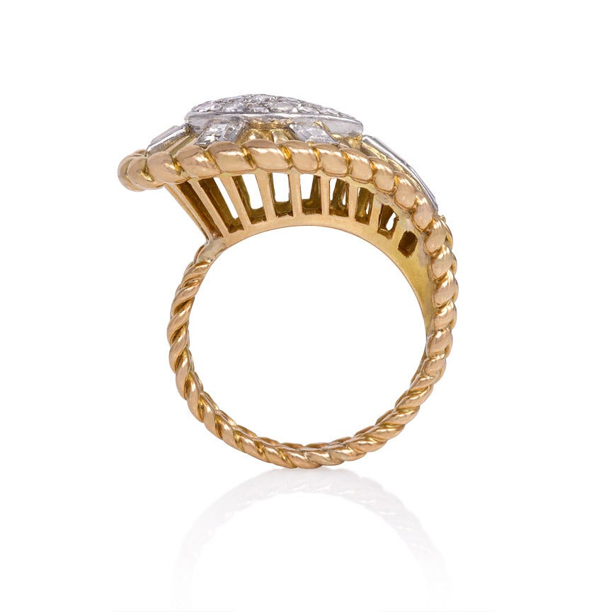 Retro 1950s Gold and Diamond Cocktail Ring For Sale