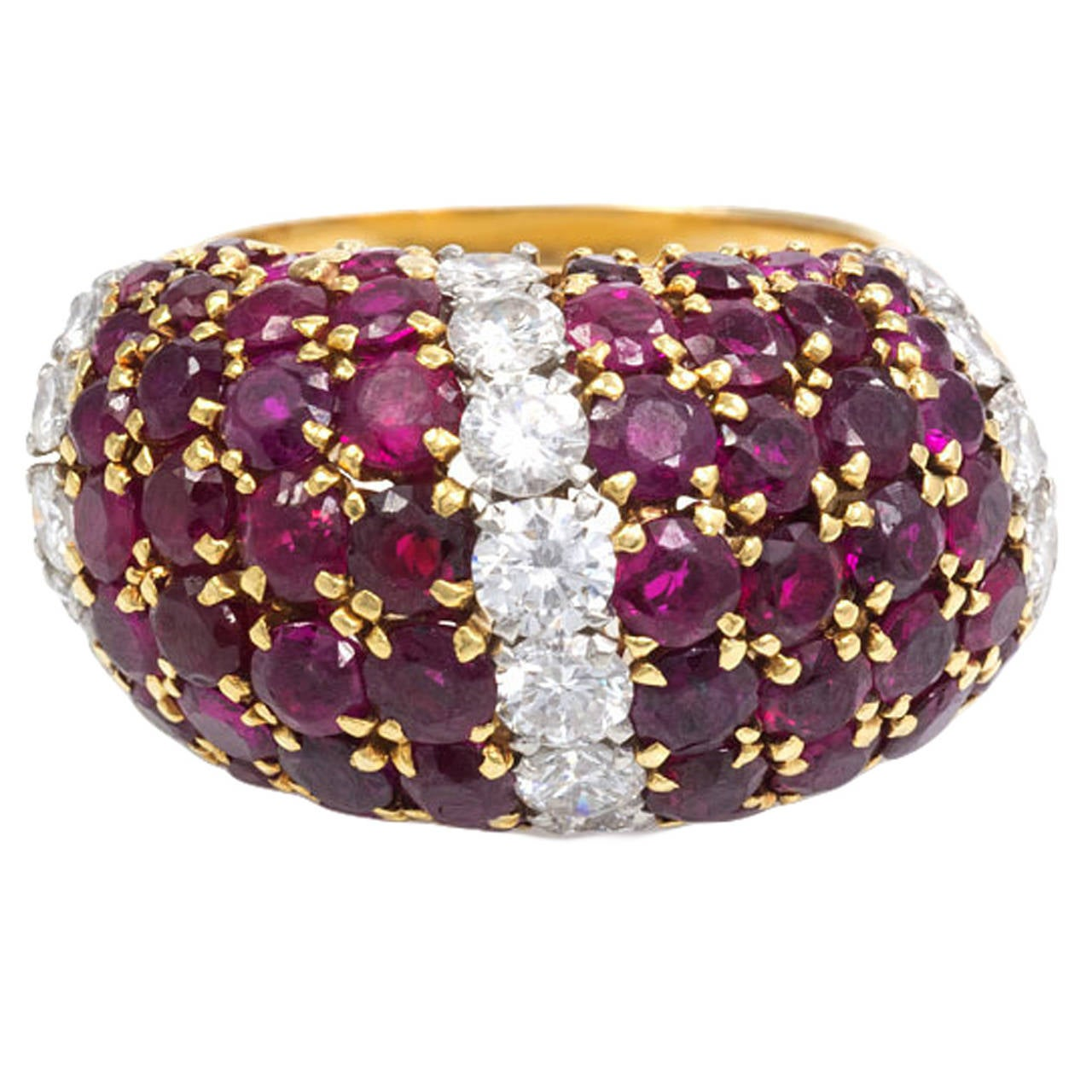 1950s Van Cleef And Arpels Ruby Diamond Gold Quot Pelouse