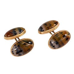 Antique Moss Agate Double-Sided Gold Cufflinks