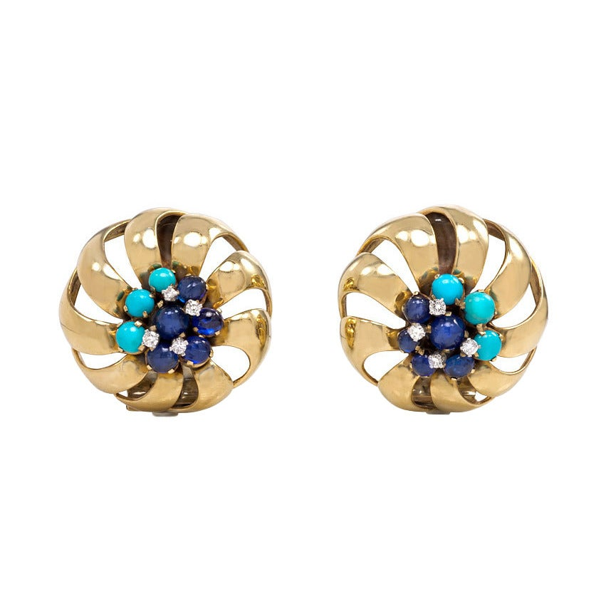 Retro Gold Sapphire Turquoise And Diamond Earrings