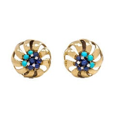 Retro Gold, Sapphire, Turquoise and Diamond Earrings