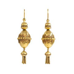 Antique Gold Pendant Earrings with Tassels