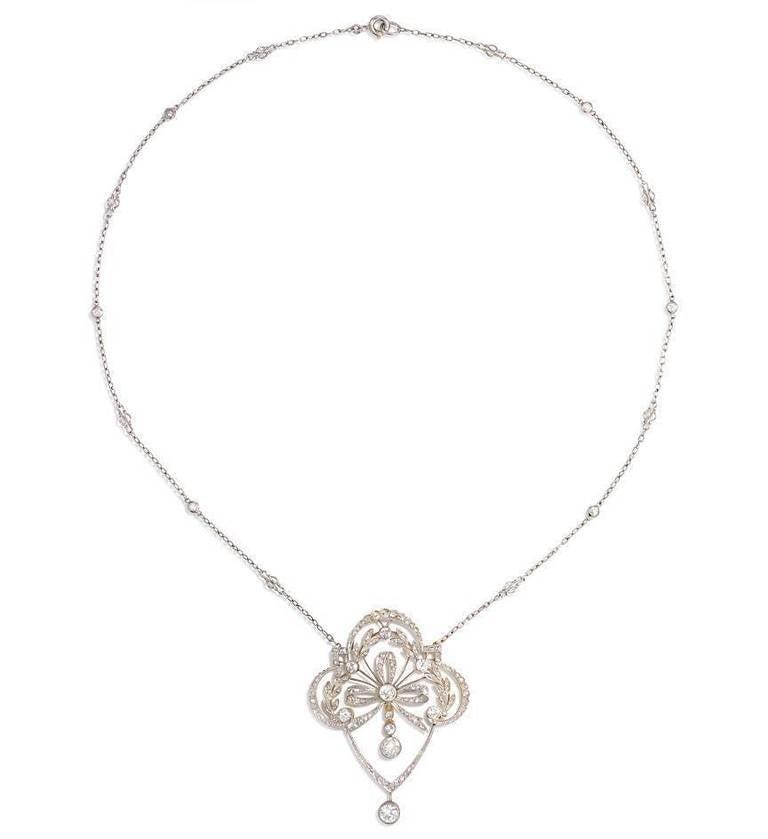 Edwardian Diamond Lavalier Necklace With Laurel Leaf Motif