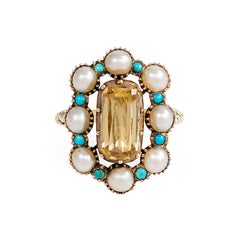 Antique Pearl Turquoise Gold Cluster Ring with Topaz Center