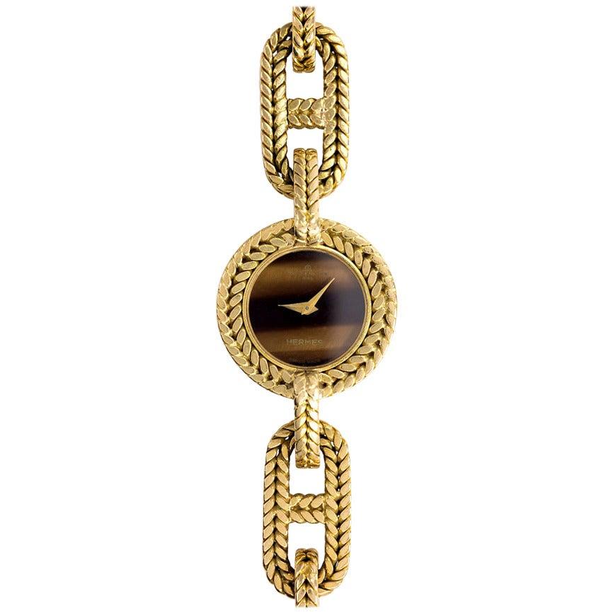 Hermès Yellow Gold Tiger's Eye Wristwatch