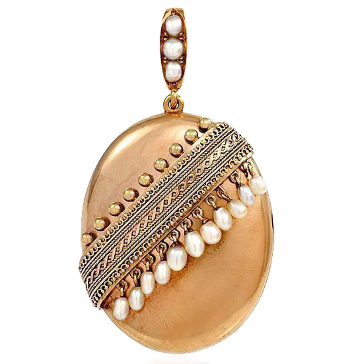 Antique Gold Locket with Pearl Fringe