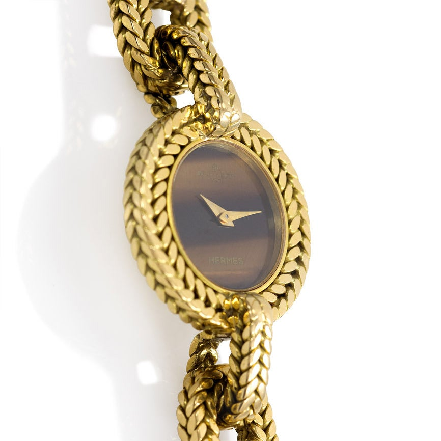 Hermès Yellow Gold Tiger's Eye Wristwatch In Excellent Condition In New York, NY