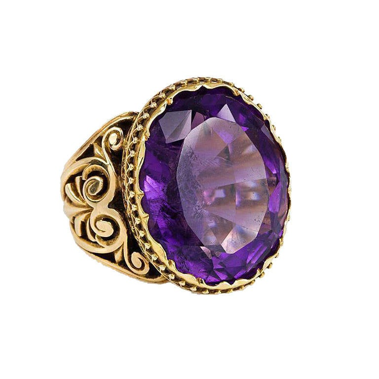 antique amethyst gold ring at 1stdibs
