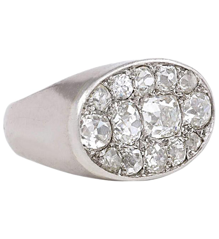 French Art Deco White Gold and Diamond Ring