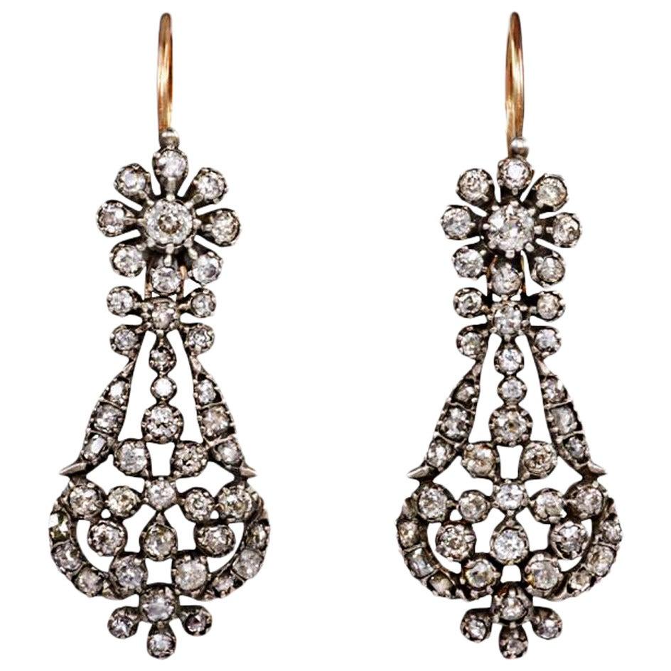 Antique Old Mine Diamond Earrings
