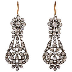 Antique Old Mine Diamond Openwork Earrings