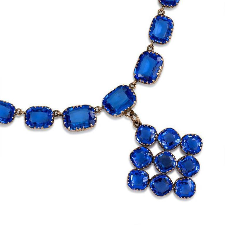 Late Georgian Blue Paste Riviere Necklace with Pendant 2