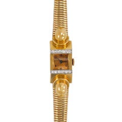 Lady's Yellow Gold Retro Bracelet Watch with Diamond Accents
