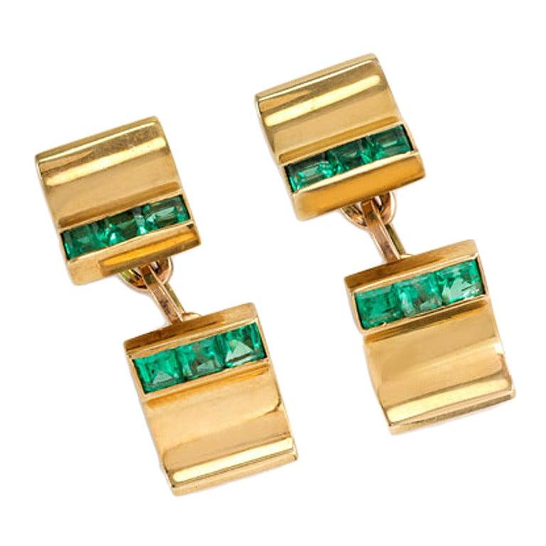 Trabert Amp Hoeffer Mauboussin Emerald Gold Cufflinks
