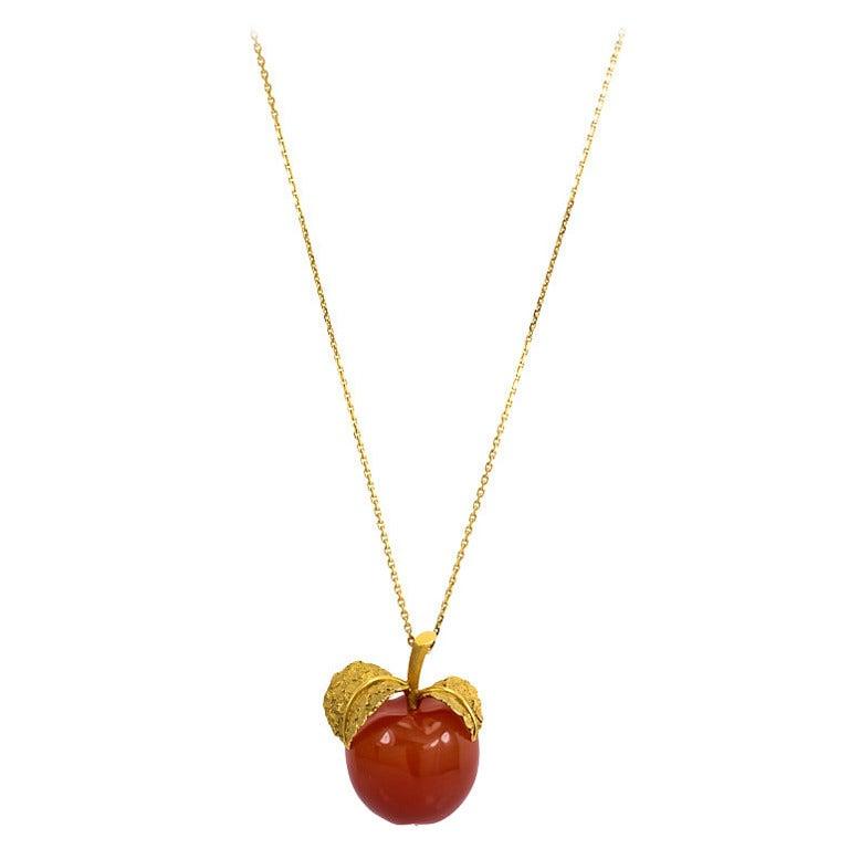 Carnelian gold apple form pendant for sale at 1stdibs carnelian gold apple form pendant for sale aloadofball Gallery