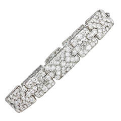 Art Deco Diamond Platinum Plaque Link Bracelet