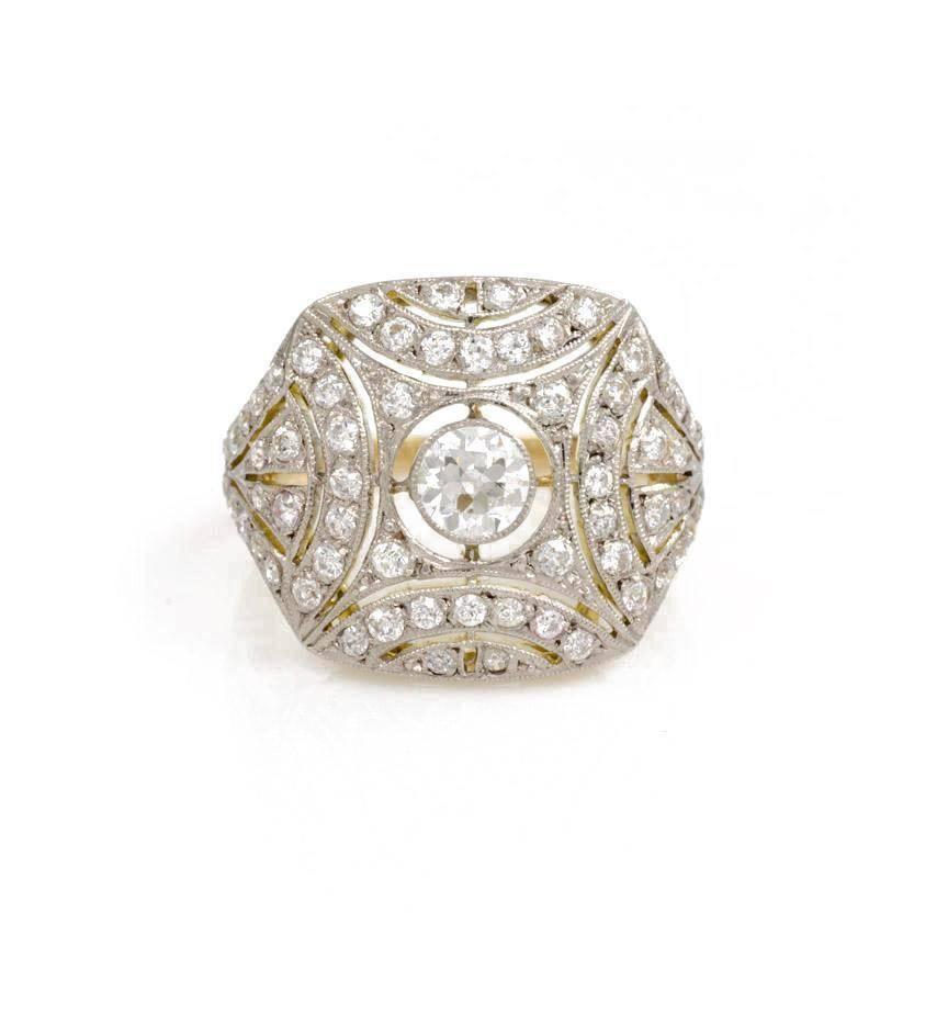 edwardian gold platinum ring of pierced design at