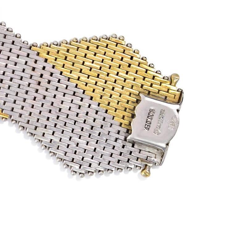 Women's or Men's 1970s Italian Two Color Woven Gold Bracelet For Sale