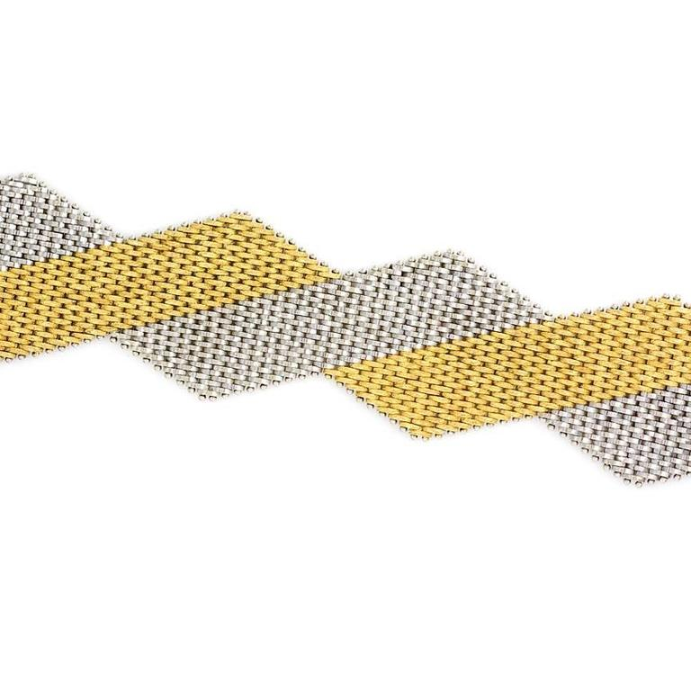 1970s Italian Two Color Woven Gold Bracelet In Excellent Condition For Sale In New York, NY