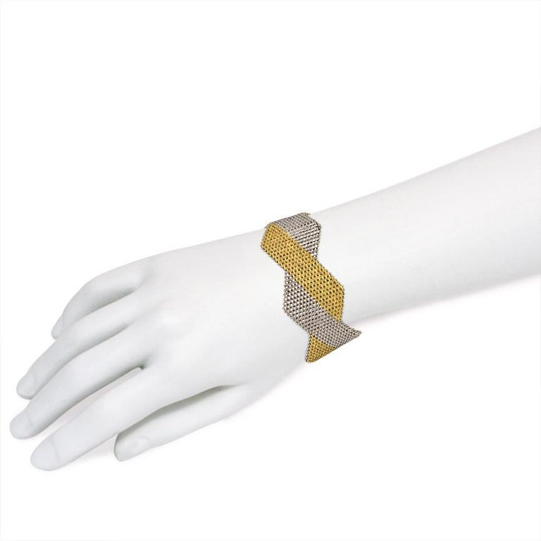 1970s Italian Two Color Woven Gold Bracelet For Sale 1