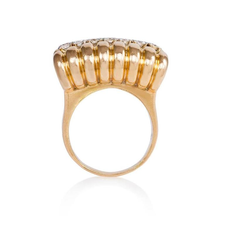 Retro 1940s Gold and Diamond Ring with Scrolled Shoulders For Sale