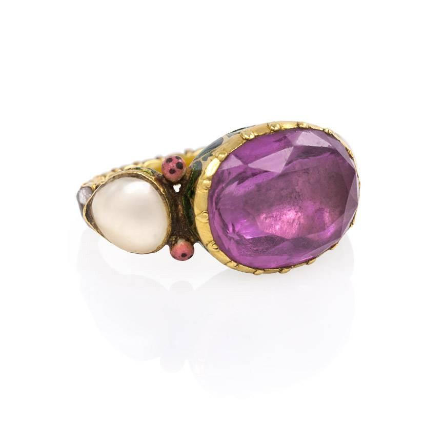 antique indian enamel pearl tourmaline gold ring