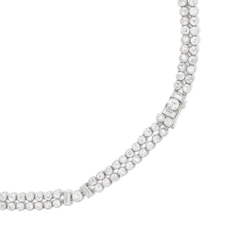 Women's or Men's Art Deco Diamond and Platinum Bracelets, Convertible to Necklace For Sale