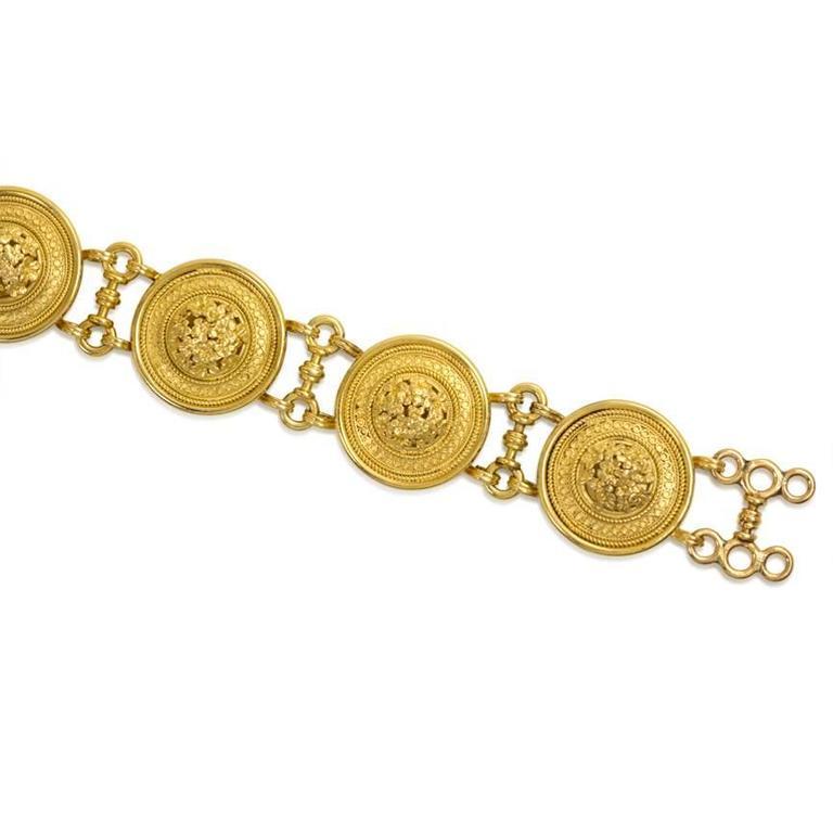 "Victorian Castellani Gold ""Millefiori"" Plaque Link Bracelet 3"