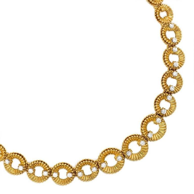 1960s  Van Cleef & Arpels Diamond Gold Link Necklace 2
