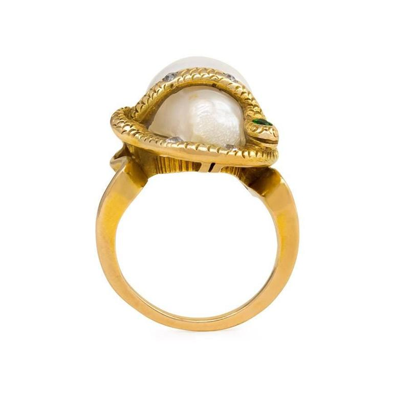 antique freshwater pearl and gemset gold serpent ring at