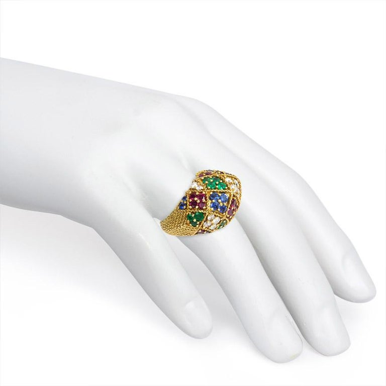 Women's or Men's 1950s Multigemstone Gold Harlequin Design Bombé Ring For Sale
