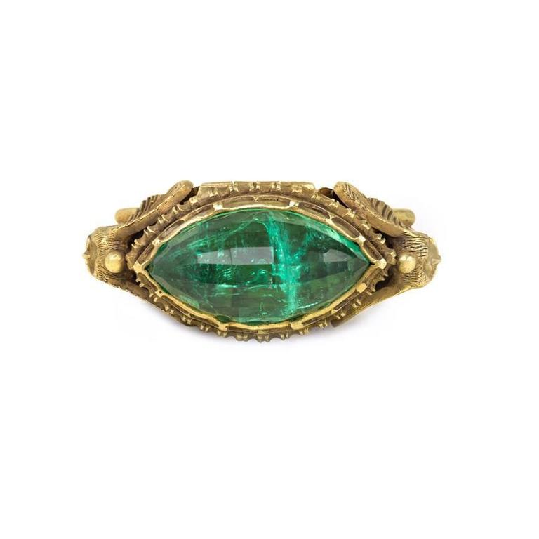 Marcus And Co Egyptian Revival Emerald Gold Poison Ring