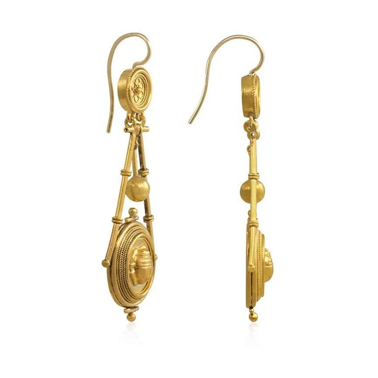Antique Gold Etruscan Revival Earrings with Scarabs 2