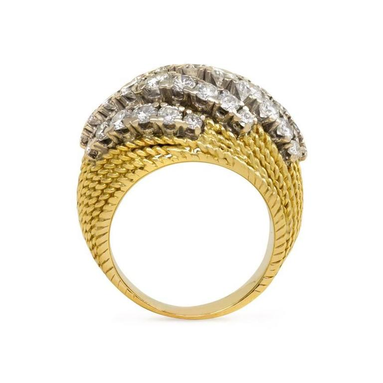 Mellerio 1950s Diamond Gold Platinum Ring In Excellent Condition For Sale In New York, NY