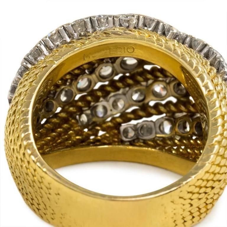 Women's or Men's Mellerio 1950s Diamond Gold Platinum Ring For Sale