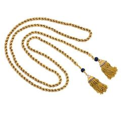 1950s Gold Lariat Necklace with Lapis and Gemset Tassels