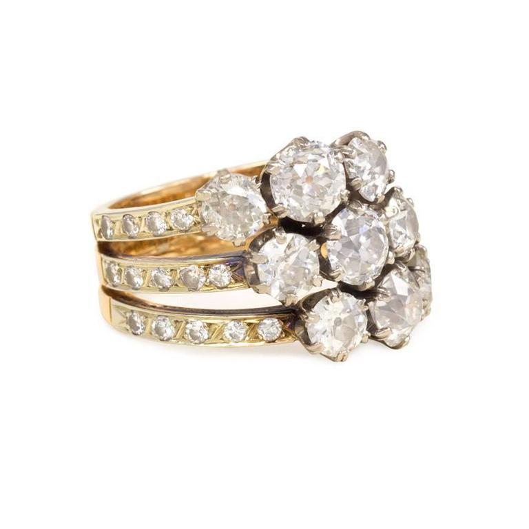Edwardian Triple Band Diamond Gold Platinum Harem Ring 2