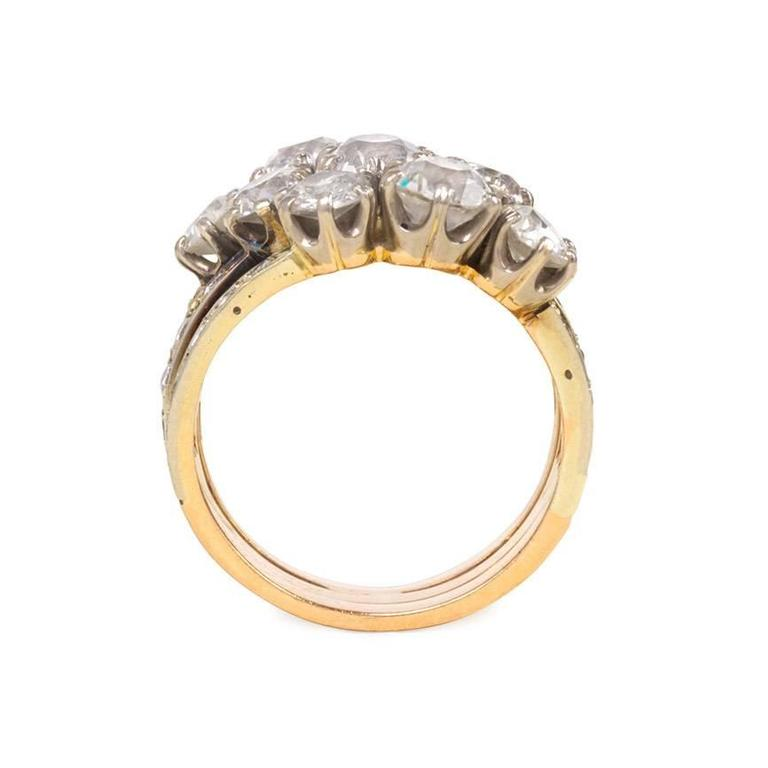Edwardian Triple Band Diamond Gold Platinum Harem Ring 3