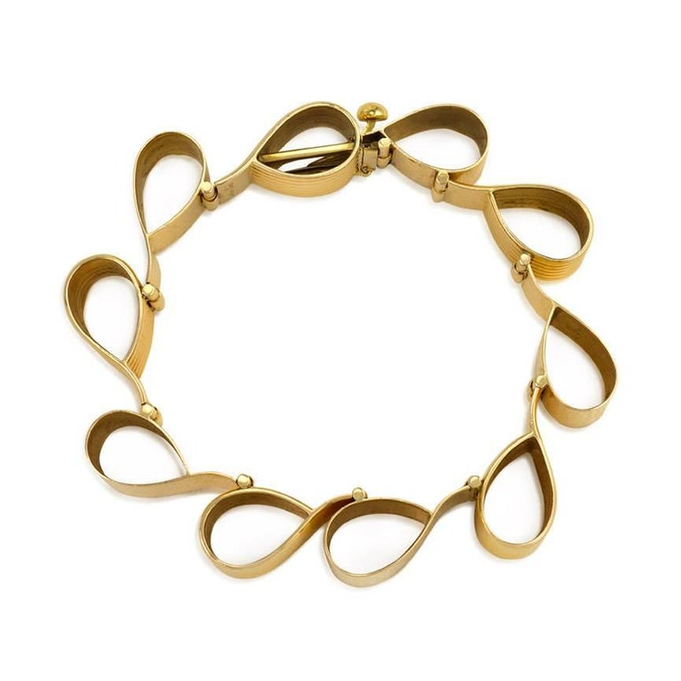1940s Cartier Gold Ribbon Loop Bracelet 5