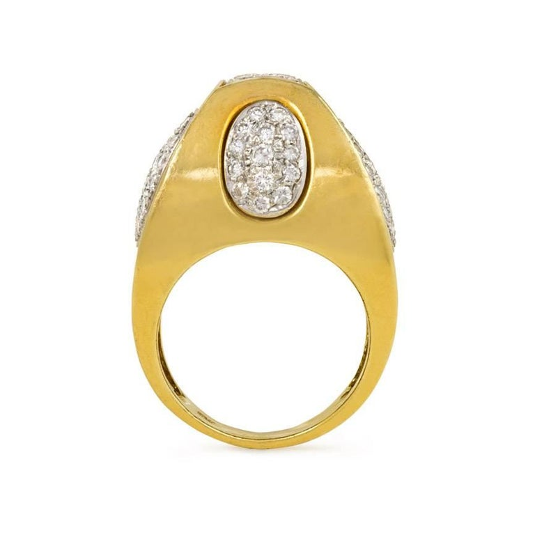 Modernist 1970s Sugarloaf Geometric Design Diamond Gold Ring For Sale