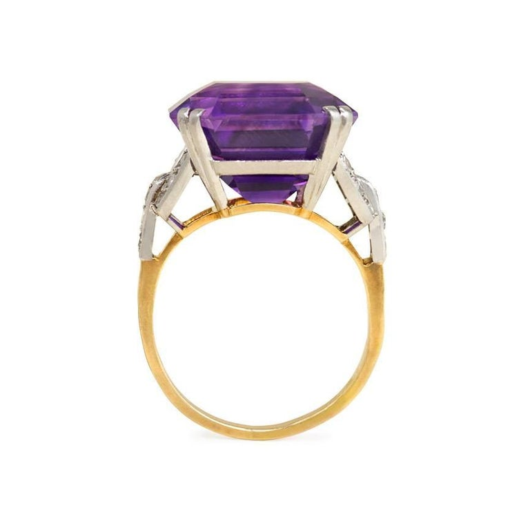 Retro 1940s Amethyst Cocktail Ring with Diamond Accents For Sale
