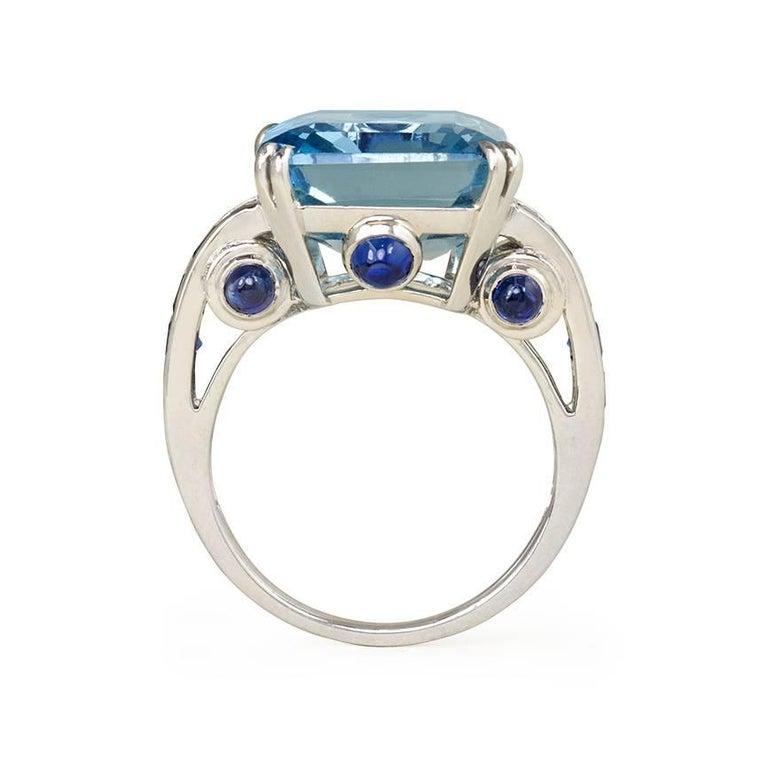 Retro 1940s Aquamarine, Sapphire and Diamond Cocktail Ring For Sale