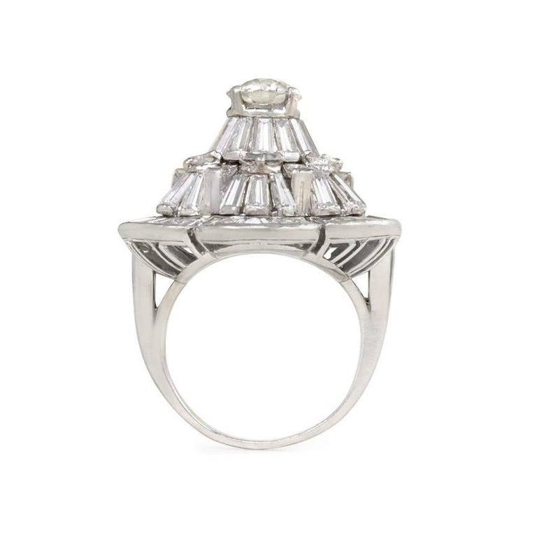 Half Moon Cut Oscar Heyman 1950s Diamond Stylized Flower Cocktail Ring in Platinum For Sale