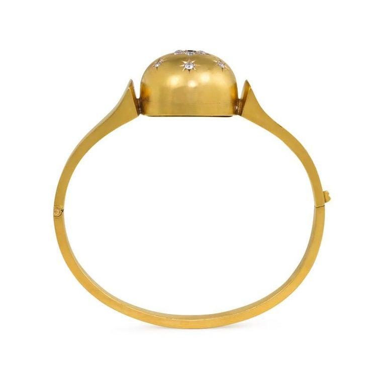 Women's or Men's Antique Victorian Diamond Sapphire, Set Domed Centre Gold Bracelet For Sale