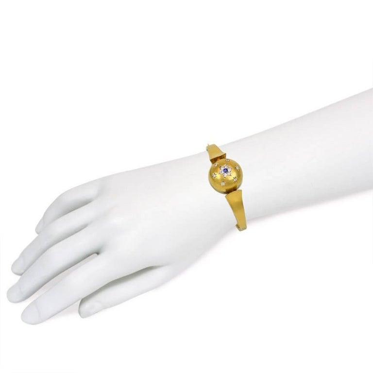 Antique Victorian Diamond Sapphire, Set Domed Centre Gold Bracelet For Sale 1