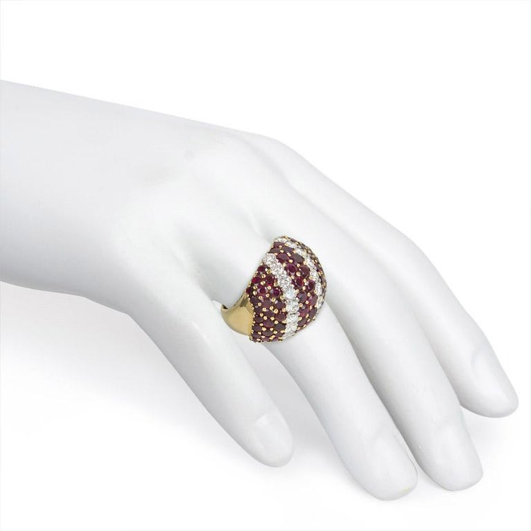 Women's or Men's 1950s Gold, Ruby and Diamond Bombé Ring For Sale